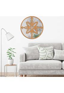 Escultura De Parede Wevans Mandala Positive, Madeira + Espelho Decorativo