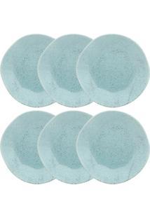 Conjunto Pratos Rasos Oxford Ryo Blue Bay 6 Peças Porcelana 27.5Cm