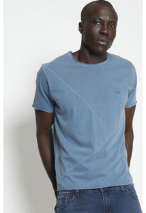 Camiseta Estonada Com Bordado - Azul- M. Officerm. Officer