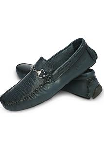 Mocassim Mr Light Dockside Sapato Mr Light Couro Casual Social Ref 39-Marinho