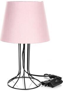 Abajur Torre Dome Rosa Com Aramado Preto