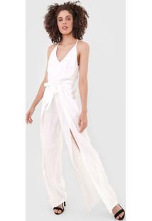 Macacão Calvin Klein Jeans Pantalona Fendas Branco