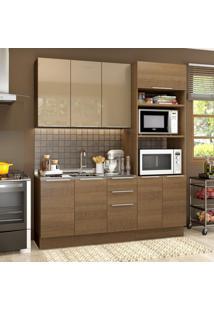 Cozinha Compacta Madesa Stella Florença 8 Portas 3 Gavetas (Sem Tampo E Pia)