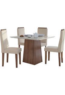 Sala De Jantar Nevada 100Cm Com 4 Cadeiras Imbuia Velvet Riscado Bege