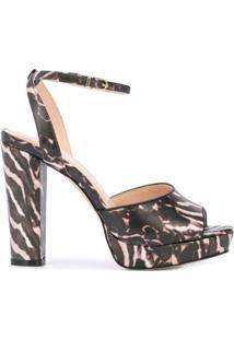 Cynthia Rowley Sandália Plataforma Diana Com Estampa De Zebra - Marrom