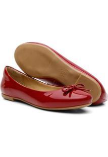 Sapatilha Feminina Couro Verniz Bico Redondo Laço Conforto - Feminino-Vermelho