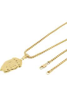 Pingente Face De Cristo Com Corrente Veneziana Tudo Jóias Folheado A Ouro 18K Dourada