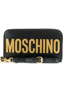 Moschino Carteira Com Zíper E Estampa De Logo - Preto