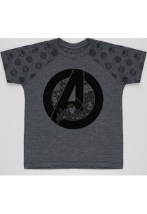 Camiseta Infantil Os Vingadores Raglan Manga Curta Gola Careca Cinza Mescla Escuro