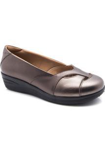Sapato Feminino Anabela 194 Em Couro Metalizado Doctor Shoes - Feminino-Bronze