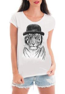 Camiseta Criativa Urbana Rendada Tigre De Chapéu Branca