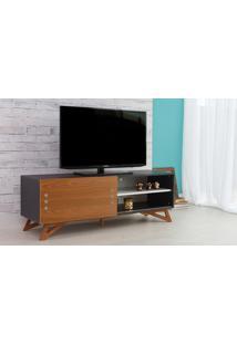 Rack Tv Preto Moderno Vintage Retrô Com Porta De Correr Freijó Freddie - 140X43,6X48,5 Cm