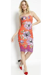 Vestido Floral Com Renda- Laranja & Roxo- Charrycharry