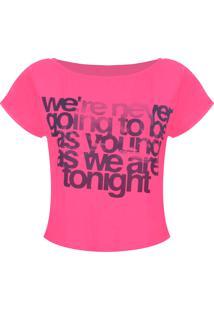 Camiseta Outletdri T-Shirt Estampa Young Rosa