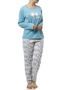 Pijama Longo Feminino Verde/Branco