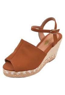 Sandália Uzze Sapatos Anabela Confort Fechada Caramelo