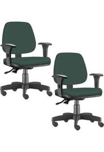 Kit 02 Cadeiras Giratórias Lyam Decor Job Verde Musgo - Tricae