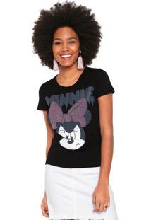 Camiseta Cativa Disney Estampada Preta