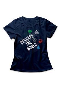 Camiseta Feminina Magic Reshape The World Azul Marinho