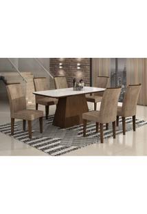 Conjunto De Mesa Lunara I 180 Cm Com 6 Cadeiras Animalle Castor E Chocolate