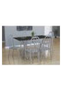 Conjunto De Mesa Miame Com 6 Cadeiras Madri Branco Prata E Preto Listrado