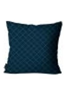 Capa Para Almofada Premium Cetim Mdecore Geométrica Azul Escuro 45X45Cm