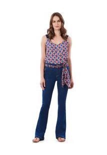 Calça Maria.Valentina Flare M. Victoria Cós Intermediário Com Lenço Jeans