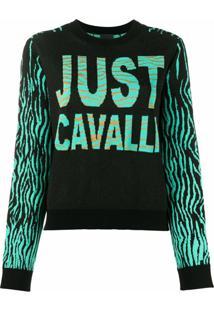 Just Cavalli Suéter Color Block De Tricô - Preto