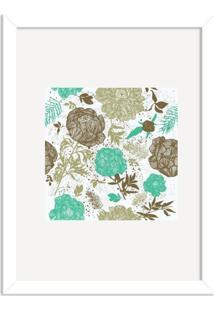 Quadro Decorativo Floral Verde Mesclado Com Fundo Branco Branco - Médio