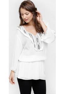 Blusa Facinelli Bordada - Feminino-Branco