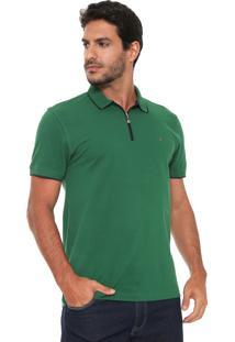 Camisa Polo Aramis Manga Curta Zíper Verde