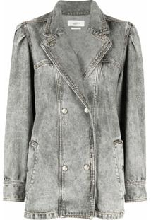 Isabel Marant Étoile Jaqueta Jeans Com Abotoamento Duplo - Cinza