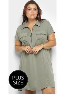 Vestido Curto Heli Plus Size Bolsos Manga Curta - Feminino-Verde