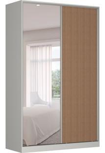 Guarda-Roupa Solteiro Com Espelho Tunas Iii 2 Pt 3 Gv Branco E Marrom