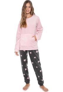 Pijama Any Any Stars Rosa/Cinza