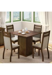 Conjunto Sala De Jantar Madesa Cannes Mesa Tampo De Madeira Com 4 Cadeiras Marrom