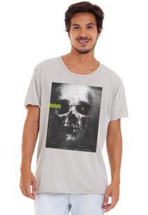Camiseta Estonada Corte À Fio Estampada Joss Skull Dark Cinza