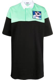 Msgm Camisa Polo Bicolor Com Patch Bordado - Preto