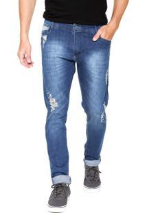 Calça Jeans Gangster Skinny Rasgos Azul
