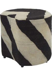 Puff Tamborim Petala Kilim Zebra Black 6 - 40X40X45
