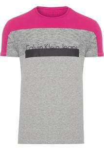 Camiseta Masculina Manga Curta Recortes - Cinza E Rosa