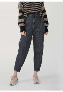 Calça Feminina Slouchy Em Jeans Com Elastano Preto