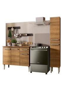 Cozinha Compacta Madesa Emilly Silver Com Balcáo E Paneleiro Marrom