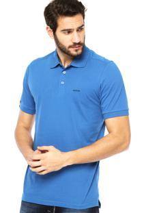 Camisa Polo Manga Curta Aleatory Bordado Fenda Azul
