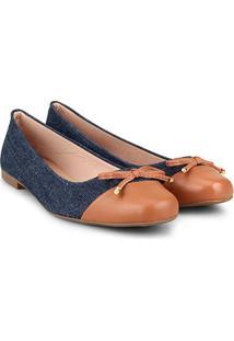 Sapatilha Pietra Fernandes Jeans Feminina - Feminino-Azul
