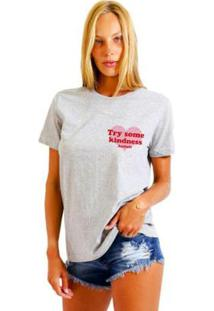 Camiseta Joss Estampada Logo Try Some Kindness Feminina - Feminino-Mescla