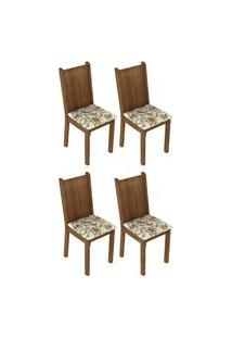 Kit 4 Cadeiras 4290 Madesa Rustic/Lírio Bege Marrom