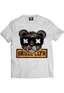 Camiseta Manga Curta Skull Clothing Urso Skull Branco