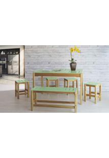 Sala De Jantar De Madeira Maciça Taeda Oga Verniz Nózes E Verde Sálvia 120X80X75Cm