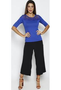 Blusa Lisa Com Renda - Azul Escuro - Thiptonthipton